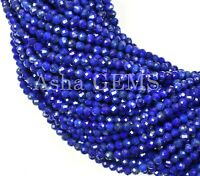 """AAA 13"""" 1 Strand Natural Blue Lapis Lazuli Micro Cut Faceted Gemstone Beads 3 mm"""
