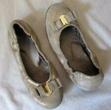 NATURINO girls sz 30 12.5 muted gold leather heart slip on ballet flats shoes