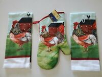 "KITCHEN TOWELS & OVEN MITT NWT 2 TOWELS 15""×25"" 1 OVEN MITT 7""×13"" ROOSTER PRINT"