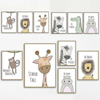 Kawaii Animal Lion Poster Baby Room Art Canvas Paint Hanging Wall Nursery Decor