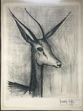 Bernard Buffet Pencil Signed Dry Point Etching Gazelle 1962 Limited Listed Nice!