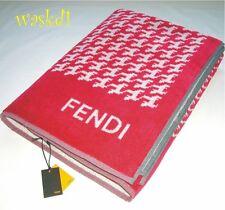FENDI raspberry TERRYCLOTH Houndstooth F Logo BEACH Towel Blanket NWT Authentic!