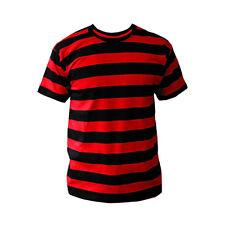Mens Black White Red Striped Stripe Stripey T-shirt Choose Colour NEW S-XL