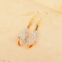 3 Colors Waterdrop Cubic Zirconia Drop Pendant Earrings Wedding Party Jewelry
