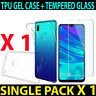 For Huawei Honor View20 Ultra-thin TPU Gel Silicone Case Cover + Tempered Glass