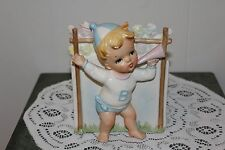 Vintage.Relpo Ceramics.Baby Boy Cheer Leader.Planter.Japan