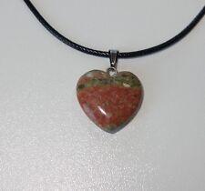 Echtstein Anhänger für Halskette - NEU - Achat Herz Heart Braun Grün Stein 089
