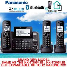 PANASONIC KX-TG9552B 2-LINE W/LINK-TO-CELL USB MUSIC ON HOLD 3 CORDLESS PHONES