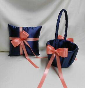 Wedding Bridal Navy Blue Coral Flower Girl Basket Ring Bearer Pillow Your Colors