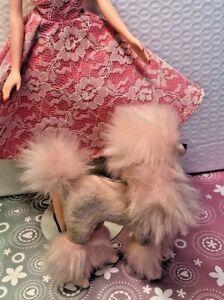 BARBIE SIZE PLUSH PINK FURRY POODLE DOG DIORAMA SILKSTONE VINTAGE CLONE  1/6