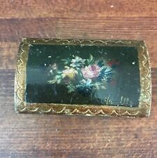 Vtg Tole Gold Florentine Italy Roma Labeled Small Wood Trinket Domed Chest Box
