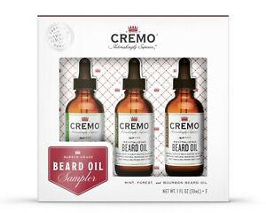 Cremo Premium Beard Oil Sampler Softens Restore Moisture Facial Hair Gift set