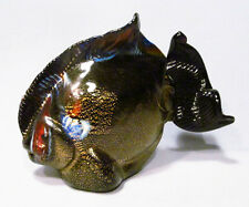 Original Murano Italy Art Glass Gold Speckled Black Tropical Fish Figurine