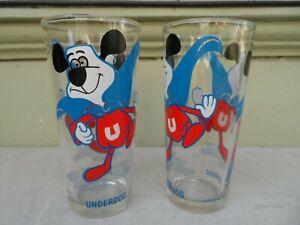"""Pair of Vintage Glass Underdog Tumblers Glasses Leonardo TTV  6 1/2"""""""