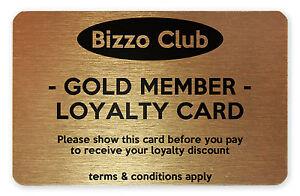 Metal Printed Restaurant, Pub, Club Loyalty Membership Cards Custom Personalised