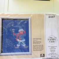 """Creative Circle # 2447 Kit Jack Frost Counted Cross Stitch Elf 8x10"""" 1988 Vtg"""