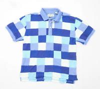 Orvis Mens Size M Cotton Check Blue Polo Shirt