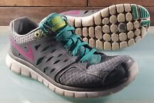 Nike Flex 2013 Women Shoes Gray / Teal / Pink Size 9 Run Trainers 580440-002