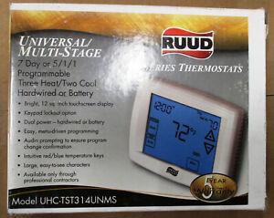 Rheem UHC-TST314UNMS Touchscreen Thermostat 3Heat/2Cool 7 Days, 5/1/1 Day, 24V
