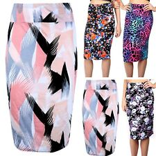 Womens Ladies High Waisted Tube Wiggle Printed Bodycon Office Midi Skirt