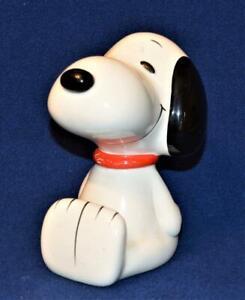 "Vintage UFS Inc. Ceramic PEANUTS SNOOPY 6""h Piggy Bank with Original Stopper"