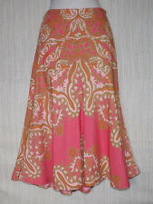 TRACY REESE SILK ORANGE BROWN MULTI-COLOR PRINT FLORAL LINED SKIRT SIZE:10