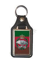 ROYAL TANK REGIMENT CAP BADGE ON A LEATHER STYLE KEY RING. INSERT 2.5 X 4 cm