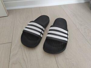 Adidas Mens Duramo Sliders - SIZE 6 - BLACK - Flip Flops Slides Slip On Shoes