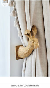 Next Home Rabbit Bunny Hare Resin Brown Curtain Tie Backs