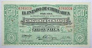 {DO470D} 1914 Mexico Banknote Estado de Chihuahua 50 Centavos