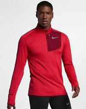 Nike Therma Sphere Element Long Sleeve Running Half Zip Red Size L 857829 687