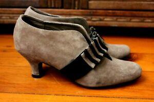 Django Juliette Zelda Mocha Suede Leather Applique Booty Heels Size 37 Steampunk