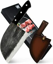 Full Tang Butcher Knife Handmade Forged Kitchen Chef Knife High Carbon Clad S...