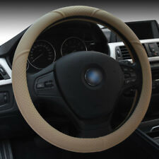 Beige 15'' 38cm Car Auto Steering Wheel Cover SUV Durable PU Leather Universal