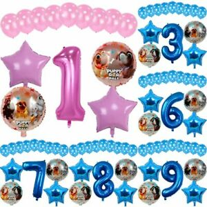 15PCS Balloons Set Number Balloon Puppy Theme Baby Shower Birthday Party Decor D