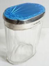 Pot flacon bocal  cristal + argent  + émail Henry Matthews 1920 silver bottle