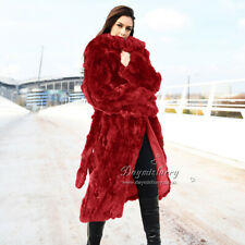 Pieced Rex Rabbit Fur Coat / Overcoat, Real Fur Coat, Winter Fur Coat