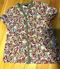 MAINE Heavy Linen Blend Floral short sleeve Womens Tunic Blouse Top Size UK 20