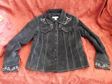 Womens Girls COLDWATER Creek Beaded Leather Brown Jacket Size PS country 4H