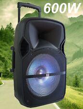 """CASSA AMPLIFICATA PORTATILE BLUETOOTH ATTIVA trolley 600W 12"""" BATTERIE + USB/SD"""