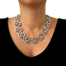 Large 950 Silver Melesio Rodriguez Designer Scroll and Bead Necklace Gift Boxed