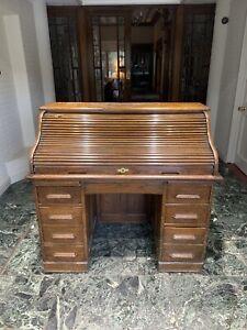 Antique Solid Oak Pedestal Roll Top Desk Circa 1910