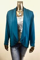 CHICO'S  $107 NWT TRAVELERS STRIKING TEAL BUTTON JACKET SIZE 2 ( L )