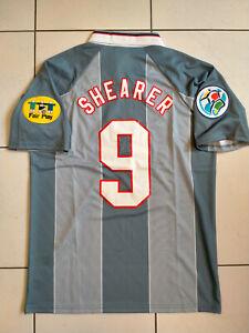 """ENGLAND EURO 96 SHIRT 1996 JERSEY AWAY GREY LARGE 41"""" SHEARER"""
