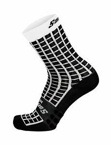 Santini Grido High Profile Cycling Socks Black/White Mens 7.5-9 (EU 40-43)