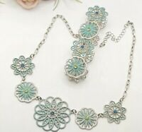 Lovely Blue Floral Costume Jewellery Necklace And Bracelet Set