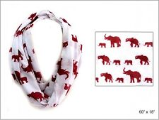 White Infinity Scarf With Red Elephants Delta Sigma Theta Inspired