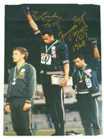 Tommie Smith & John Carlos Signed Autograph 1968 Olympic Poster Protest No COA