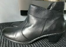 LADIES RIEKER BLACK LEATHER ANKLE BOOTS SIZE 6.5/40
