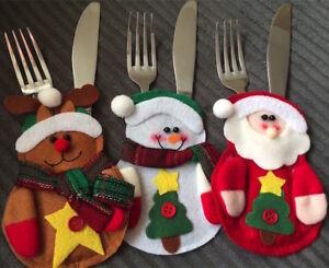 Christmas Cutlery Holders - 3 Pack - Santa Reindeer Snowman Handmade - UK